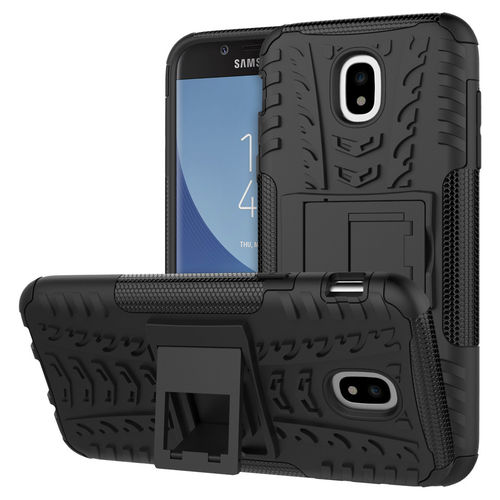 Dual Layer Rugged Tough Case & Stand for Samsung Galaxy J5 Pro - Black
